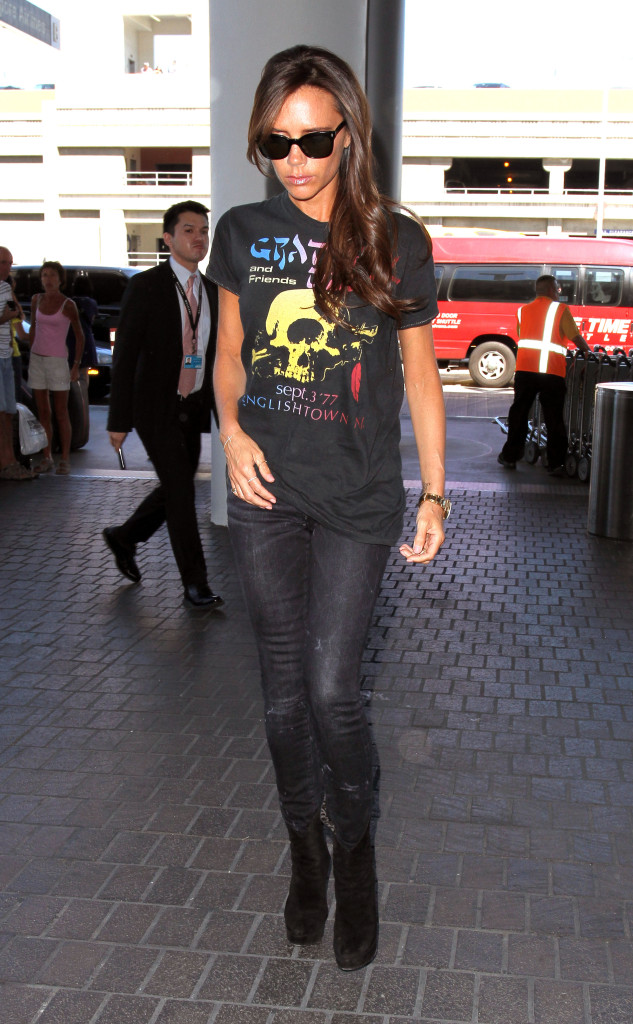 Victoria Beckham wears a Grateful Dead t-shirt while she departs to London from LAX