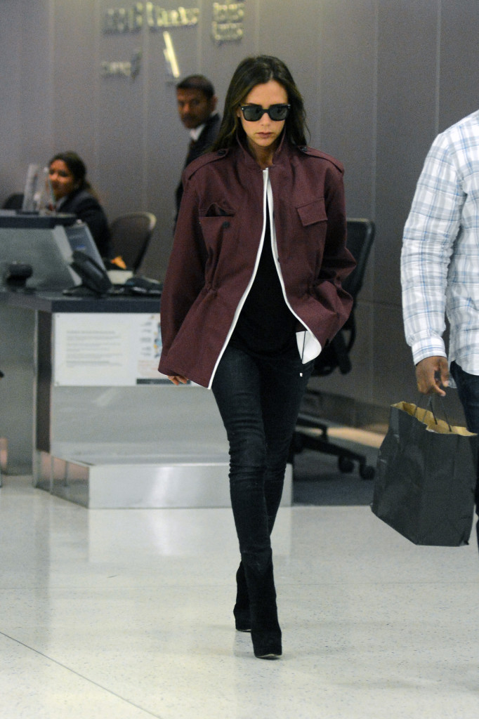 Victoria Beckham  Arrives At JFK International Airport in New York City
