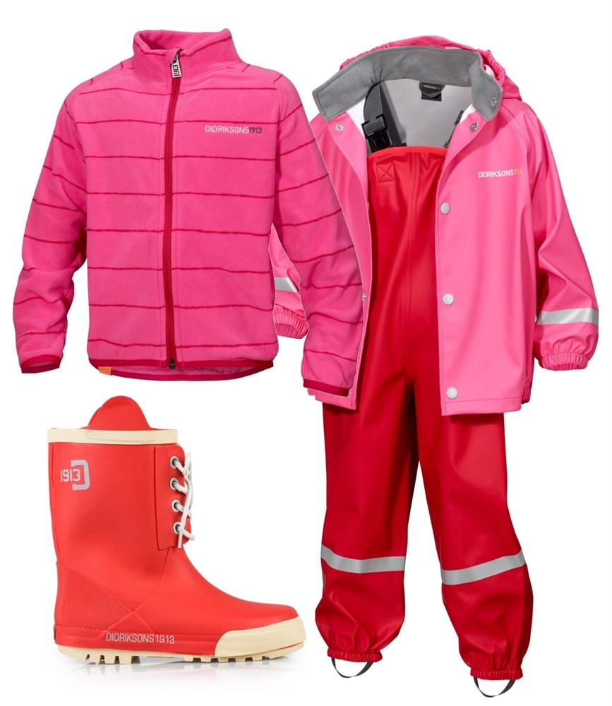 didriksons-uforet-regnsett-fleece-gummistovler-rosa-pakke