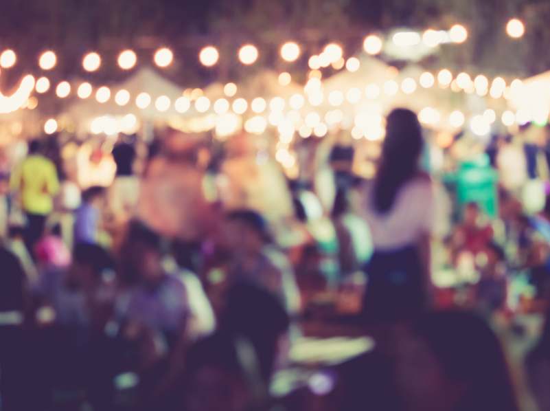 Festival Event Party Lighting decoration with Blurred People Background